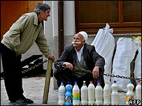 Kosovo Albanian street vendor in Orahovac