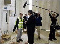 Gordon Brown with media