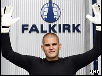 Robert Olejnik arrives at Falkirk Stadium