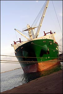 The cargo vessel Shebelle docks at the port of Djibouti