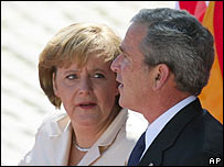 German Chancellor Angela Merkel and George W Bush