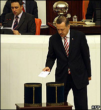 Voting in the Turkish parliament