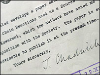 Letter from James Chadwick (Royal Society)