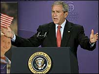 President George W Bush addressing the United States Global Leadership Campaign