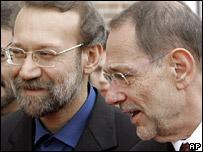 Ali Larijani (left) and Javier Solana in Madrid on 31 May 2007