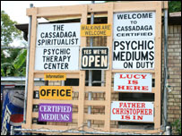 Signs advertising psychic services in Cassadaga
