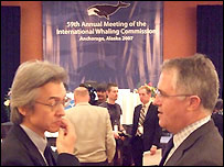 Japan's whaling commissioner, Joji Morishita, and Australia's environment minister, Malcolm Turnbull