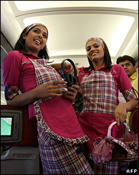 Indian air hostesses in a training school