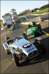Lotus 7 series 1 and a Caterham at Brands Hatch
