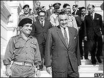 King Hussein of Jordan (left) and Gamal Abdul Nasser in Cairo just before the war