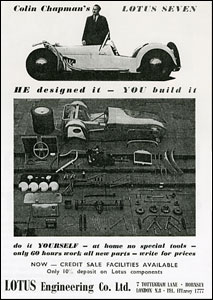 Early advertisement for the Lotus 7