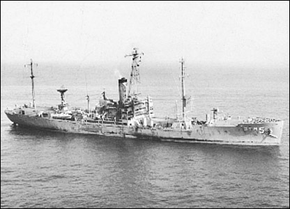 USS Liberty listing after attack (pic courtesy ussliberty.org)