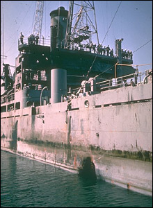 Torpedo hole in side of ship  (pic courtesy ussliberty.org)