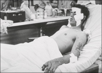 Wounded serviceman (pic courtesy ussliberty.org)
