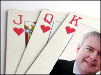 Carwyn Jones, new education minister and playing cards graphic