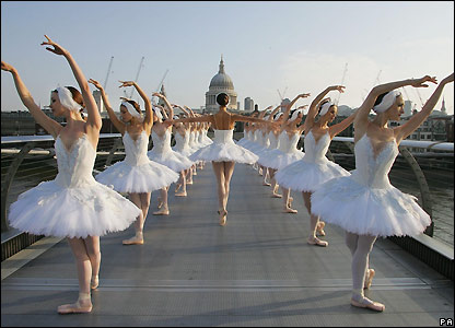 English National Ballet ballerinas on London's Millennium Bridge