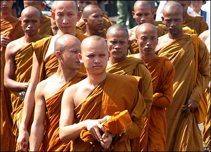 Buddhist monks at Borobudur temple in Indonesia