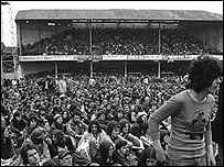 The crowd at the 1976 Who concert at the old Vetch in Swansea