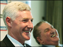 Nigel Worthington (left) and Irish FA president Jim Boyce