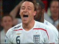 John Terry celebrates after putting England ahead against Brazil