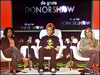 Picture shows the three candidates in the Big Donor Show that aired on Friday, 01 June 2007, in Aalsmeer.