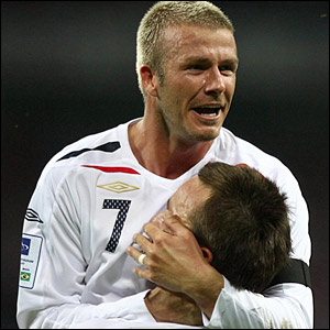 David Beckham celebrates with John Terry