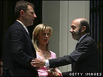 Kate and Gerry McCann with Spanish interior minister Alfredo Perez Rubalcaba