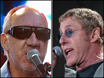 Pete Townsend and Roger Daltrey on stage at Swansea