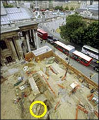 Excavation site: portico of St Martin's in the background (Museum of London)
