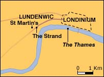 Roman London (Londinium) and the early Anglo-Saxon town (Lundenwic)