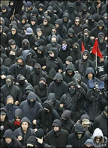 Black-clad protesters in Rostock