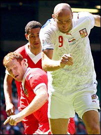 Czech striker Jan Koller proved a handful for the Wales defence