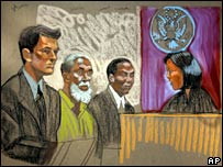 Artist's sketch of Russell Defreitas, centre, in court