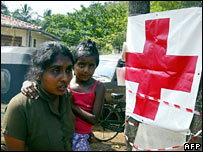 Red Cross banner in Sri Lanka town of Unawatuna, 6 January 2005