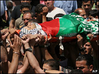 Funeral of Palestinian man in Nablus, Sunday 3 June 2007