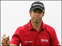 A glum Bradley Dredge salutes the Celtic Manor gallery