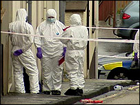 Forensic scientists at murder scene