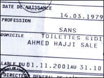 "Identity card, showing ""toilets"" as official residence"