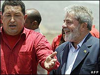 Venezuela's Hugo Chavez (left0 and President Lula (right) at a meeting in April