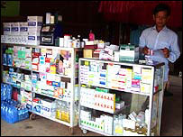 Vendor selling drugs in Cambodia