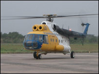 Paramount Airlines helicopter (photo taken by BBC News website reader Jeremie Munyabarame)