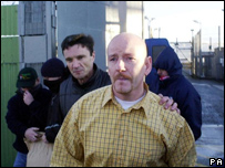 Christopher McWilliams (in yellow shirt) leaves prison