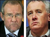 Richard Caborn (left) and Rick Parry have hit out at Uefa's criticism of Liverpool fans