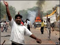 Protesters last year in the village of Aya Nagar, on the outskirts of Delhi
