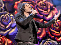 Russell Brand hosting the Brit Awards
