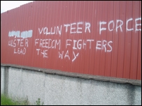 Loyalist graffiti daubed on the interface