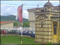 Serbian flag in Gracanica