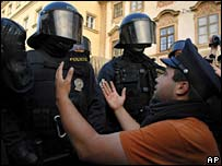 Czech protester and police in Prague, Monday 4 June