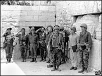 Israeli soldiers after capture of Jerusalem's Western Wall in 1967