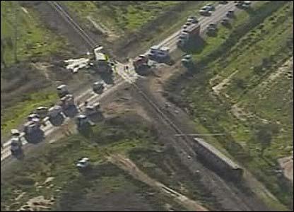 Television grab of the scene of the train crash near Kerang, Victoria state